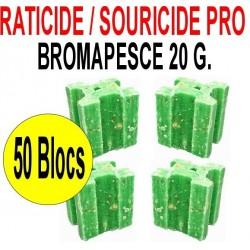 Souricide/Raticide bromapesce 1 Kg en 50 blocs de 20 grs