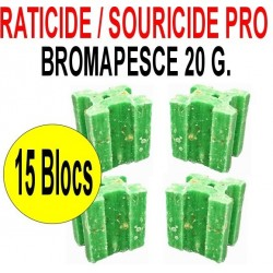 Souricide et Raticide bromapesce 15 blocs de 20 grs
