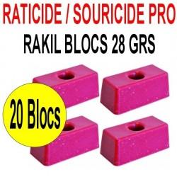 Souricide/Raticide RAKIL 20 blocs de 28 grs